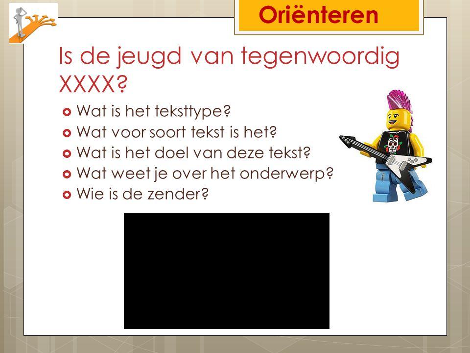 Is de jeugd van tegenwoordig XXXX?  Wat is het teksttype?  Wat voor soort tekst is het?  Wat is het doel van deze tekst?  Wat weet je over het ond