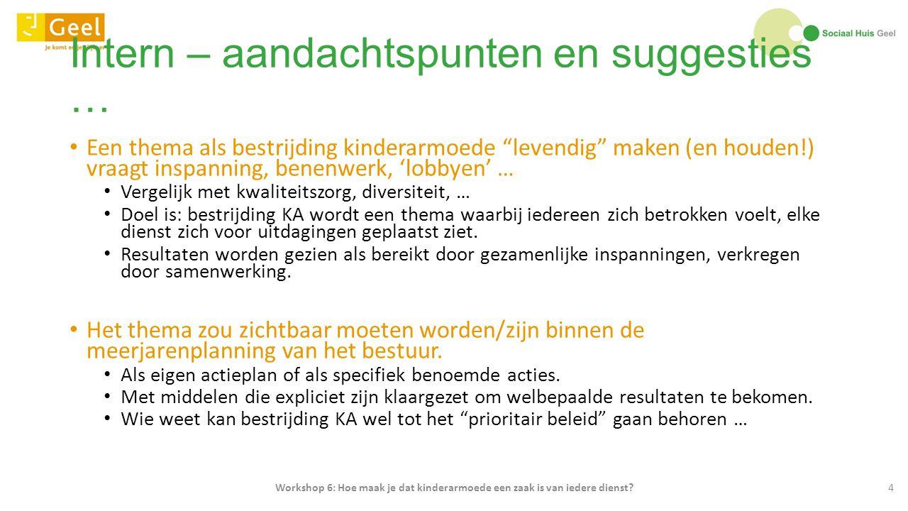 Eric Bergs - Sociaal Huis Geel - Workshop 6: Hoe maak je dat kinderarmoede een zaak is van iedere dienst?25
