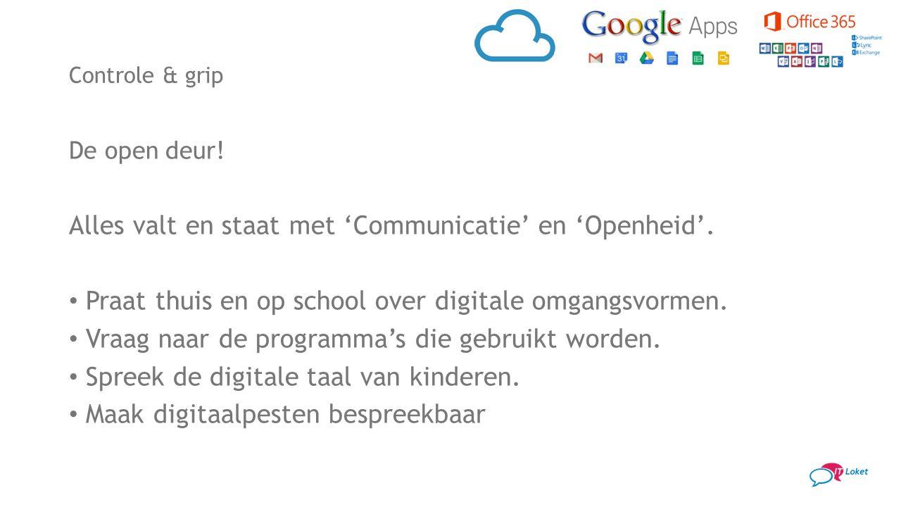 De open deur! Alles valt en staat met 'Communicatie' en 'Openheid'. Praat thuis en op school over digitale omgangsvormen. Vraag naar de programma's di