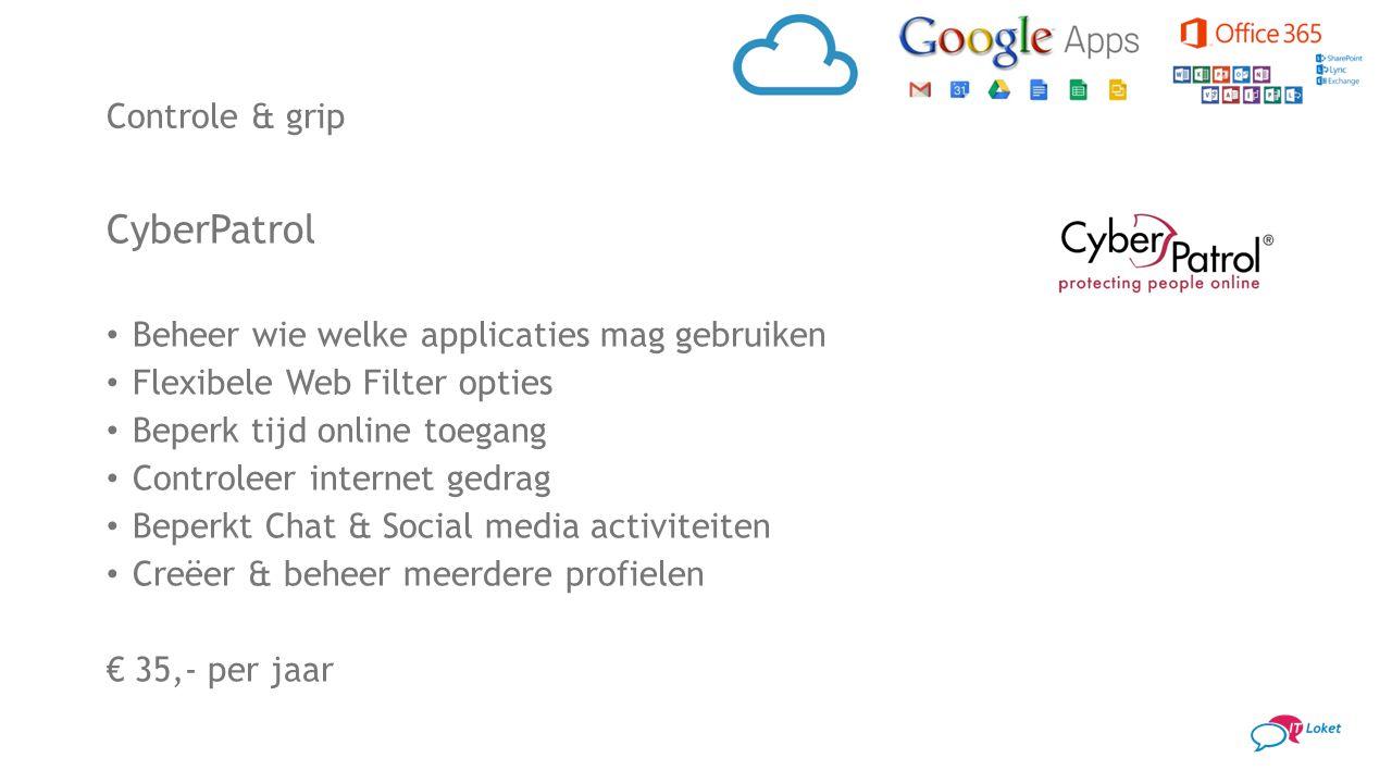 CyberPatrol Beheer wie welke applicaties mag gebruiken Flexibele Web Filter opties Beperk tijd online toegang Controleer internet gedrag Beperkt Chat