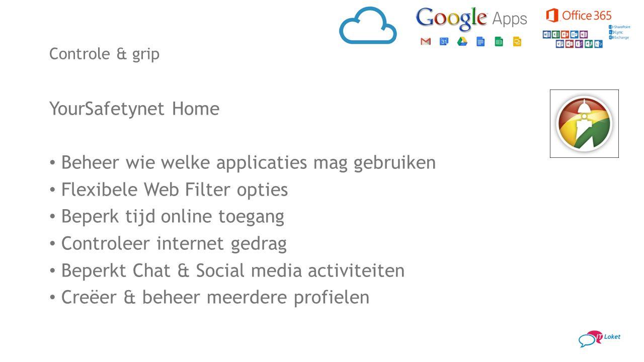 YourSafetynet Home Beheer wie welke applicaties mag gebruiken Flexibele Web Filter opties Beperk tijd online toegang Controleer internet gedrag Beperk