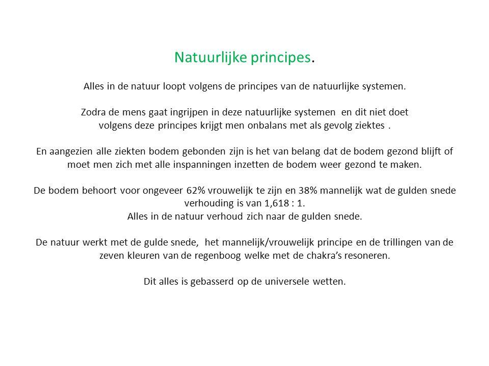Natuurlijke principes. Alles in de natuur loopt volgens de principes van de natuurlijke systemen. Zodra de mens gaat ingrijpen in deze natuurlijke sys