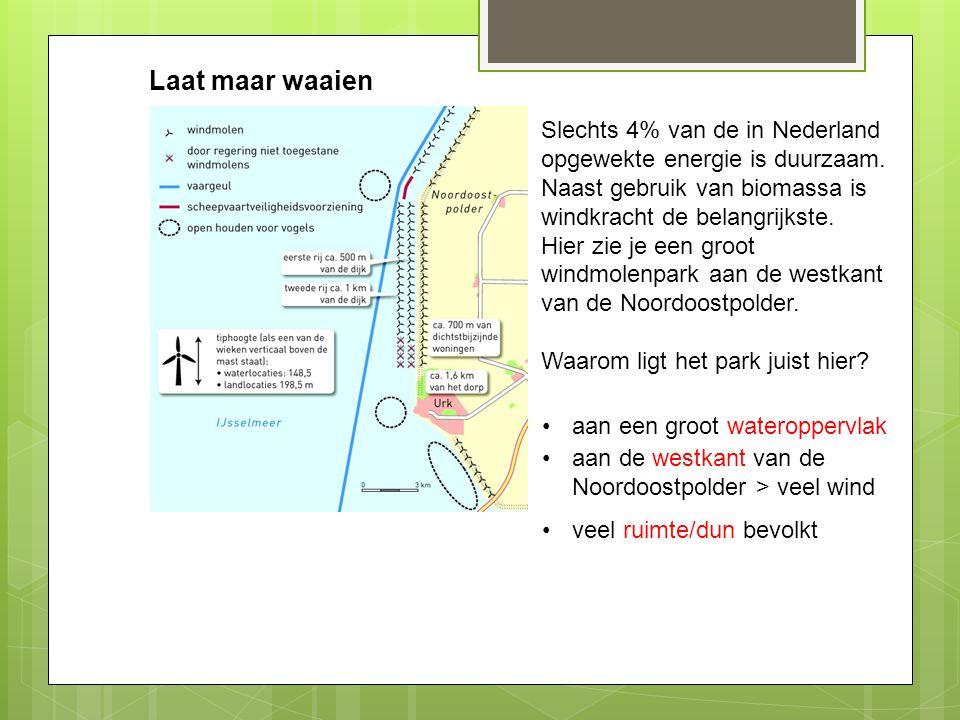 Laat maar waaien Slechts 4% van de in Nederland opgewekte energie is duurzaam. Naast gebruik van biomassa is windkracht de belangrijkste. Hier zie je