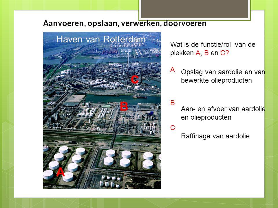 Aanvoeren, opslaan, verwerken, doorvoeren A B c Haven van Rotterdam Wat is de functie/rol van de plekken A, B en C? A B C Opslag van aardolie en van b