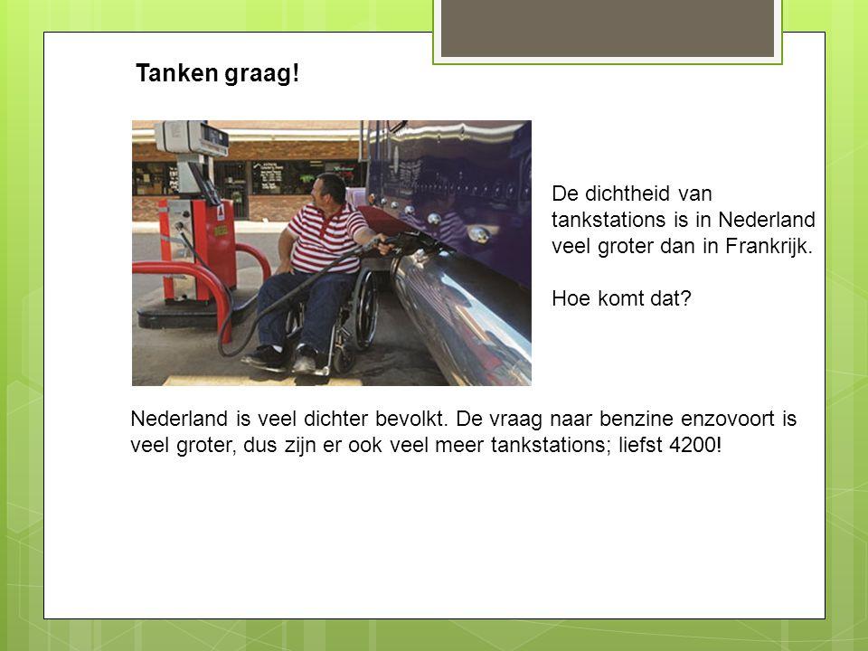 Tanken graag! De dichtheid van tankstations is in Nederland veel groter dan in Frankrijk. Hoe komt dat? Nederland is veel dichter bevolkt. De vraag na