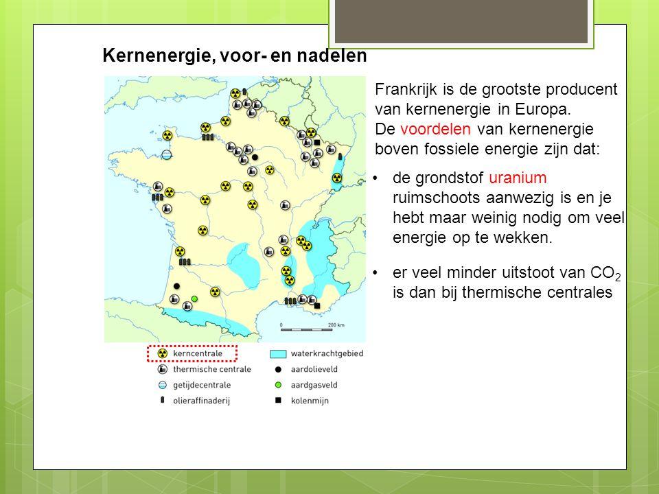 Kernenergie, voor- en nadelen Frankrijk is de grootste producent van kernenergie in Europa. De voordelen van kernenergie boven fossiele energie zijn d
