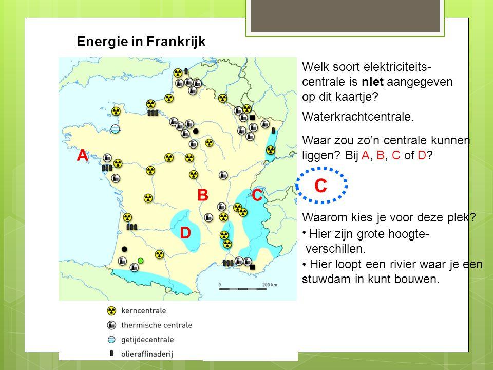 Energie in Frankrijk Welk soort elektriciteits- centrale is niet aangegeven op dit kaartje? Waterkrachtcentrale. Waar zou zo'n centrale kunnen liggen?