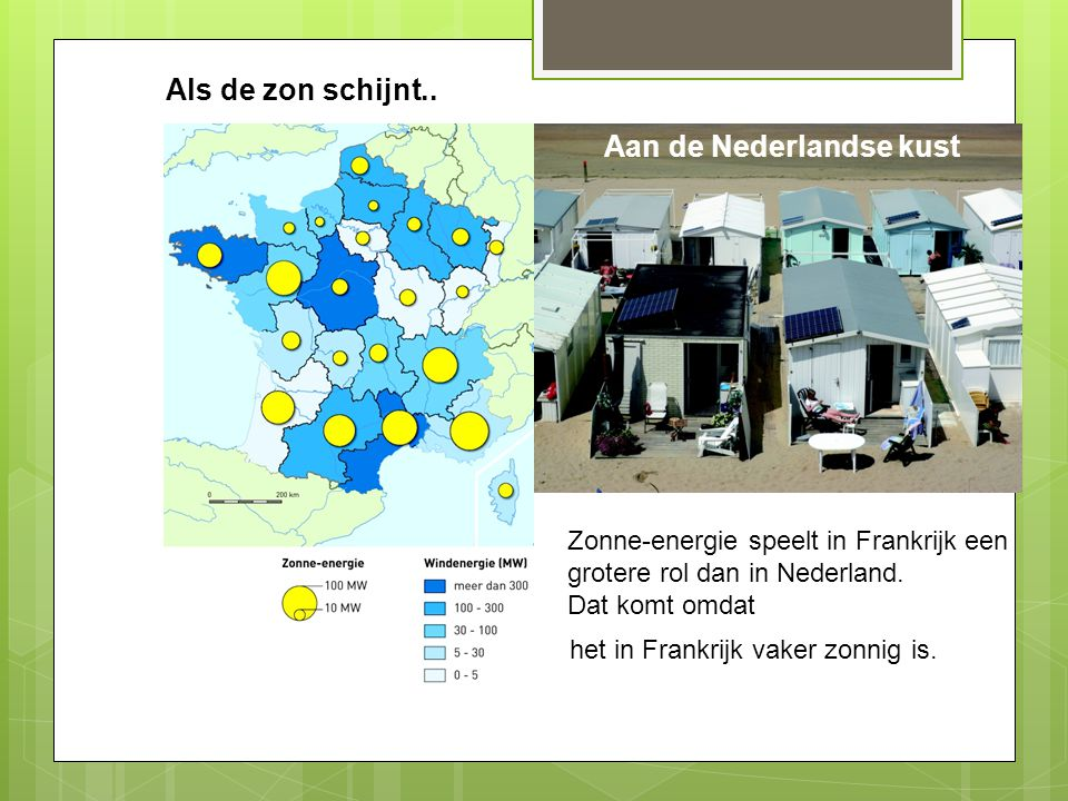 Als de zon schijnt.. Aan de Nederlandse kust Zonne-energie speelt in Frankrijk een grotere rol dan in Nederland. Dat komt omdat het in Frankrijk vaker