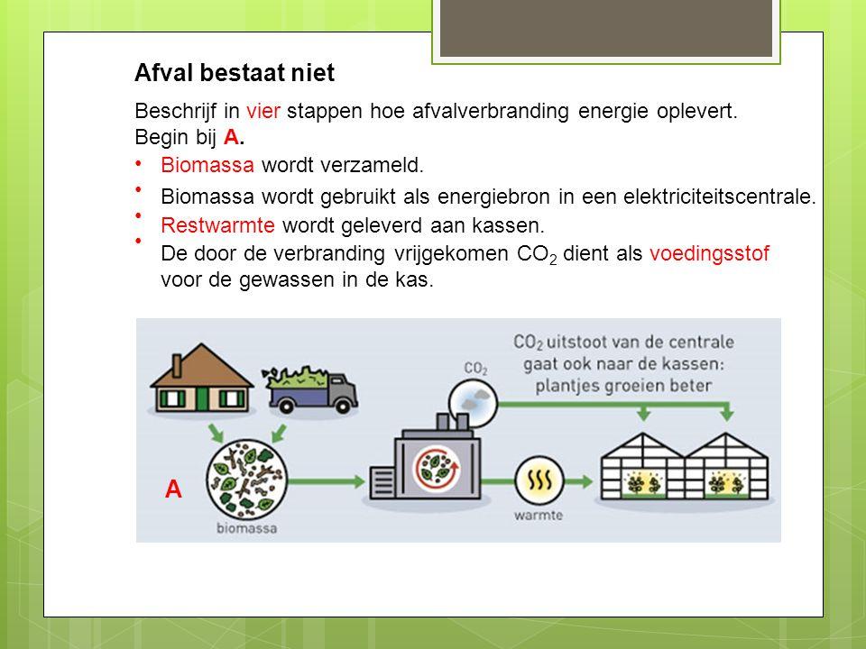 Afval bestaat niet Beschrijf in vier stappen hoe afvalverbranding energie oplevert. Begin bij A. A Biomassa wordt gebruikt als energiebron in een elek