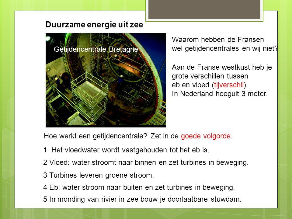 Duurzame energie uit zee Getijdencentrale Bretagne Hoe werkt een getijdencentrale? Zet in de goede volgorde. 5 In monding van rivier in zee bouw je do
