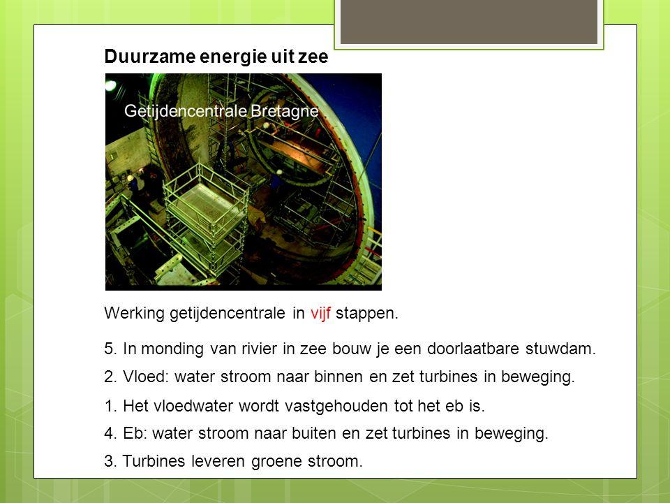 Duurzame energie uit zee Werking getijdencentrale in vijf stappen. 5. In monding van rivier in zee bouw je een doorlaatbare stuwdam. 2. Vloed: water s