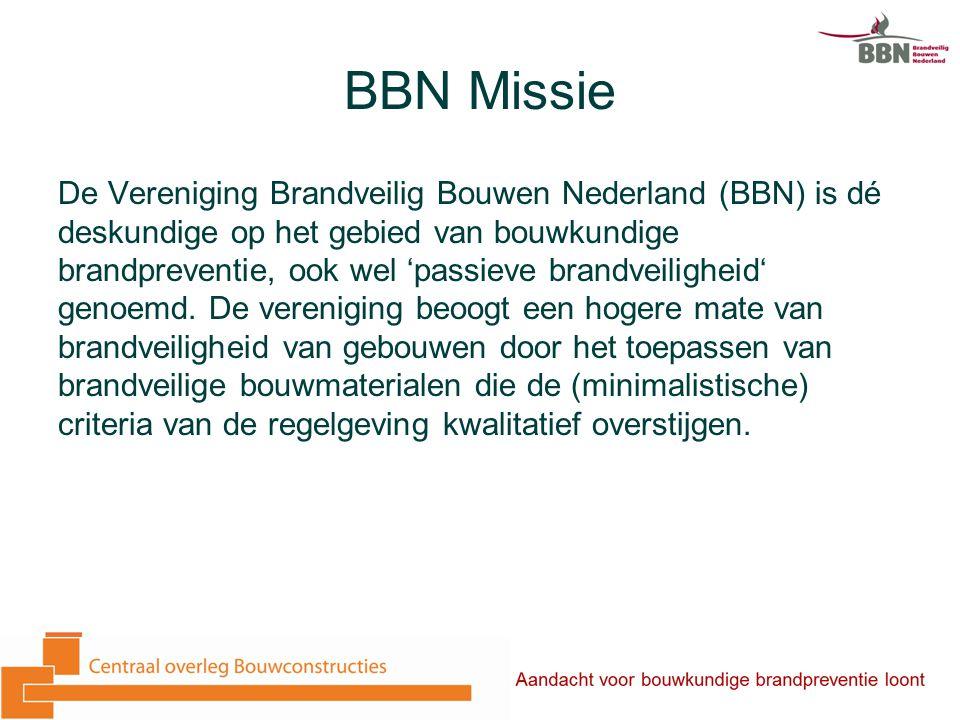 BBN Missie De Vereniging Brandveilig Bouwen Nederland (BBN) is dé deskundige op het gebied van bouwkundige brandpreventie, ook wel 'passieve brandveiligheid' genoemd.