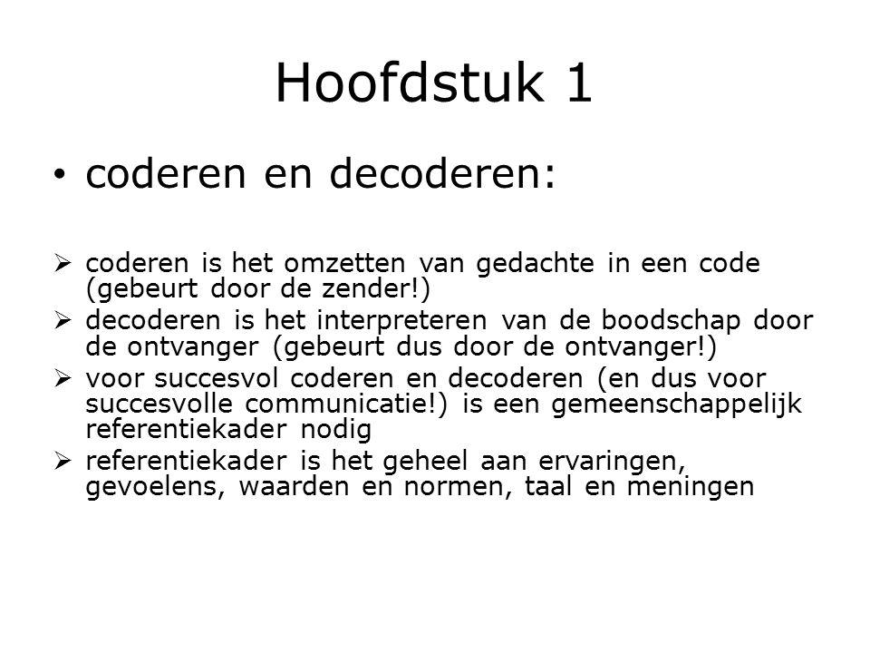 Hoofdstuk 1 coderen en decoderen:  coderen is het omzetten van gedachte in een code (gebeurt door de zender!)  decoderen is het interpreteren van de