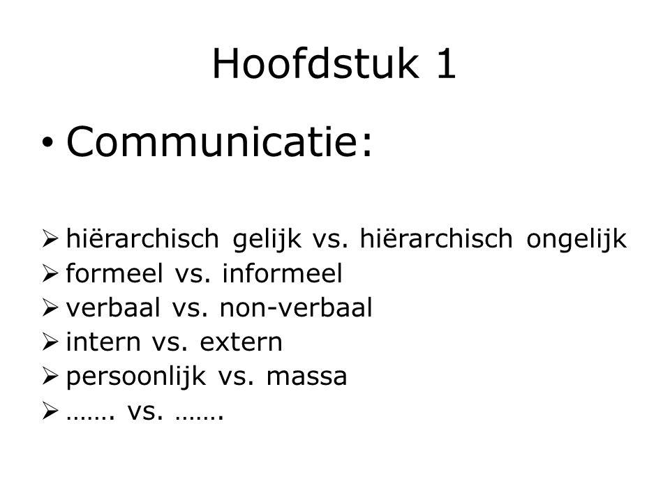 Hoofdstuk 1 Communicatie:  hiërarchisch gelijk vs. hiërarchisch ongelijk  formeel vs. informeel  verbaal vs. non-verbaal  intern vs. extern  pers