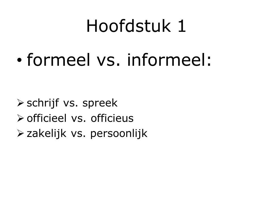 Hoofdstuk 1 formeel vs. informeel:  schrijf vs. spreek  officieel vs. officieus  zakelijk vs. persoonlijk