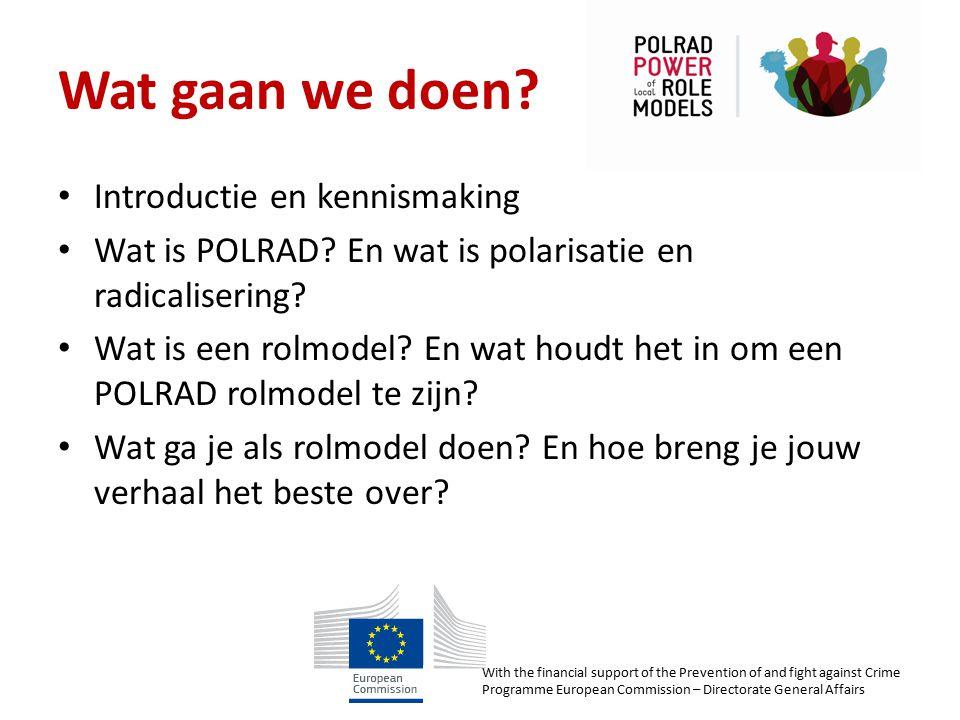 Wat gaan we doen? Introductie en kennismaking Wat is POLRAD? En wat is polarisatie en radicalisering? Wat is een rolmodel? En wat houdt het in om een