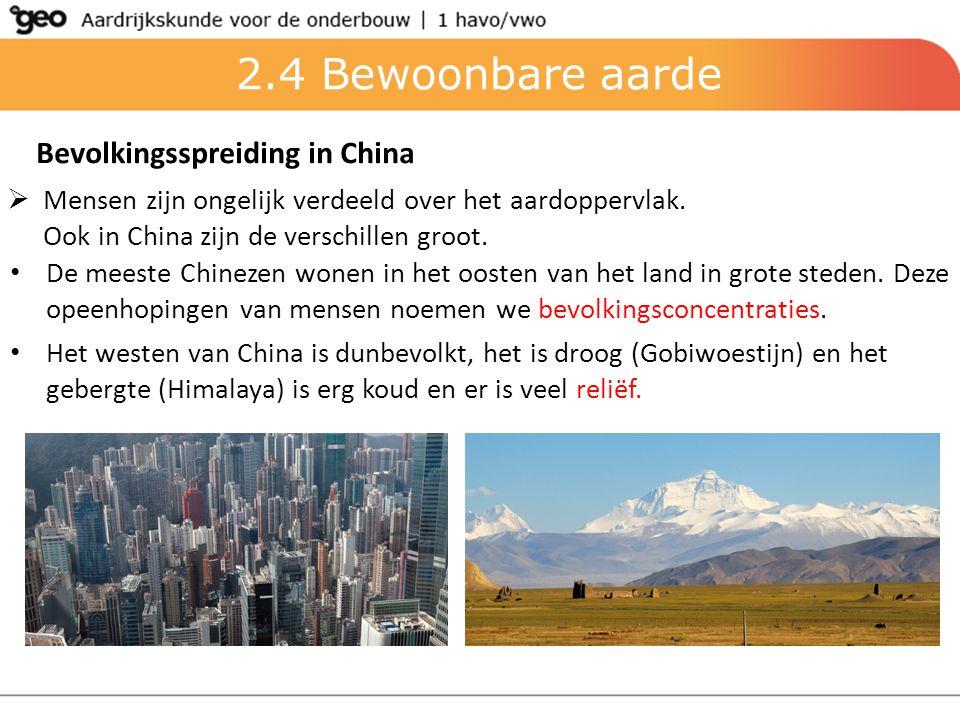 Bevolkingsspreiding in China  Mensen zijn ongelijk verdeeld over het aardoppervlak. Ook in China zijn de verschillen groot. De meeste Chinezen wonen