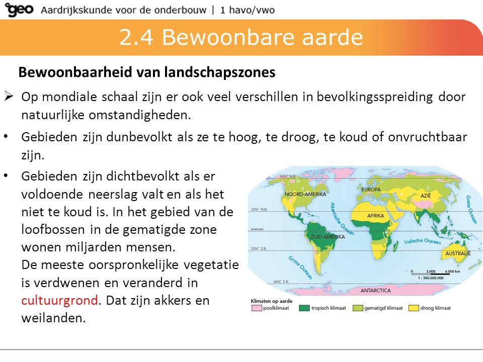 2.4 Bewoonbare aarde Bewoonbaarheid van landschapszones  Op mondiale schaal zijn er ook veel verschillen in bevolkingsspreiding door natuurlijke omst