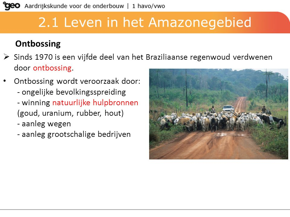 2.1 Leven in het Amazonegebied Ontbossing  Sinds 1970 is een vijfde deel van het Braziliaanse regenwoud verdwenen door ontbossing. Ontbossing wordt v