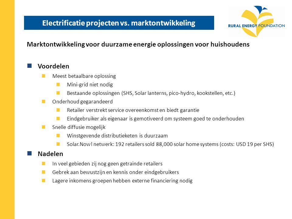 Conclusies & werkwijze REF Marktontwikkeling voor huishoud-oplossingen op basis van duurzame energie is de meest duurzame en betaalbare strategie om toegang tot energie te creeeren.