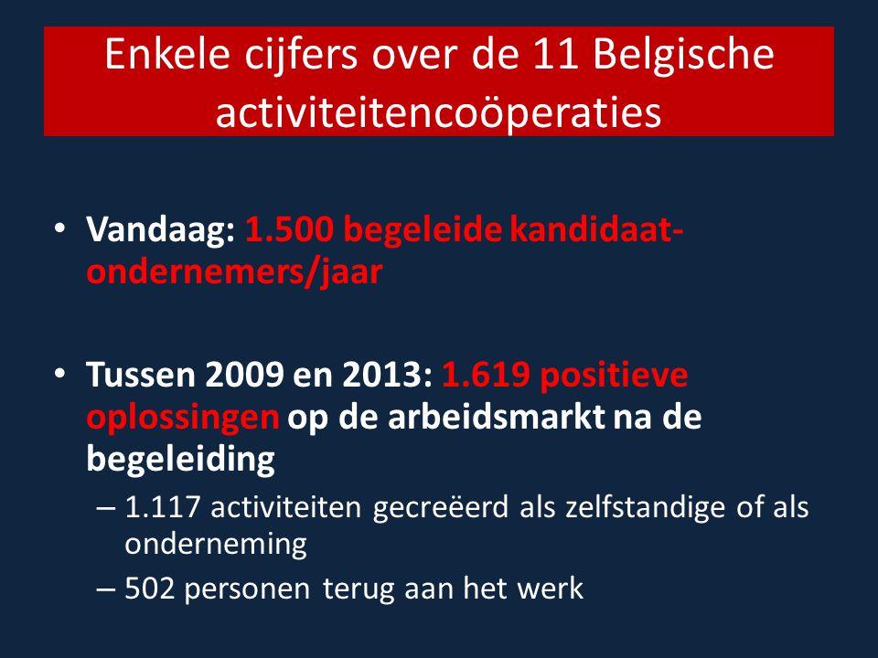 Enkele cijfers over de 11 Belgische activiteitencoöperaties Vandaag: 1.500 begeleide kandidaat- ondernemers/jaar Tussen 2009 en 2013: 1.619 positieve oplossingen op de arbeidsmarkt na de begeleiding – 1.117 activiteiten gecreëerd als zelfstandige of als onderneming – 502 personen terug aan het werk