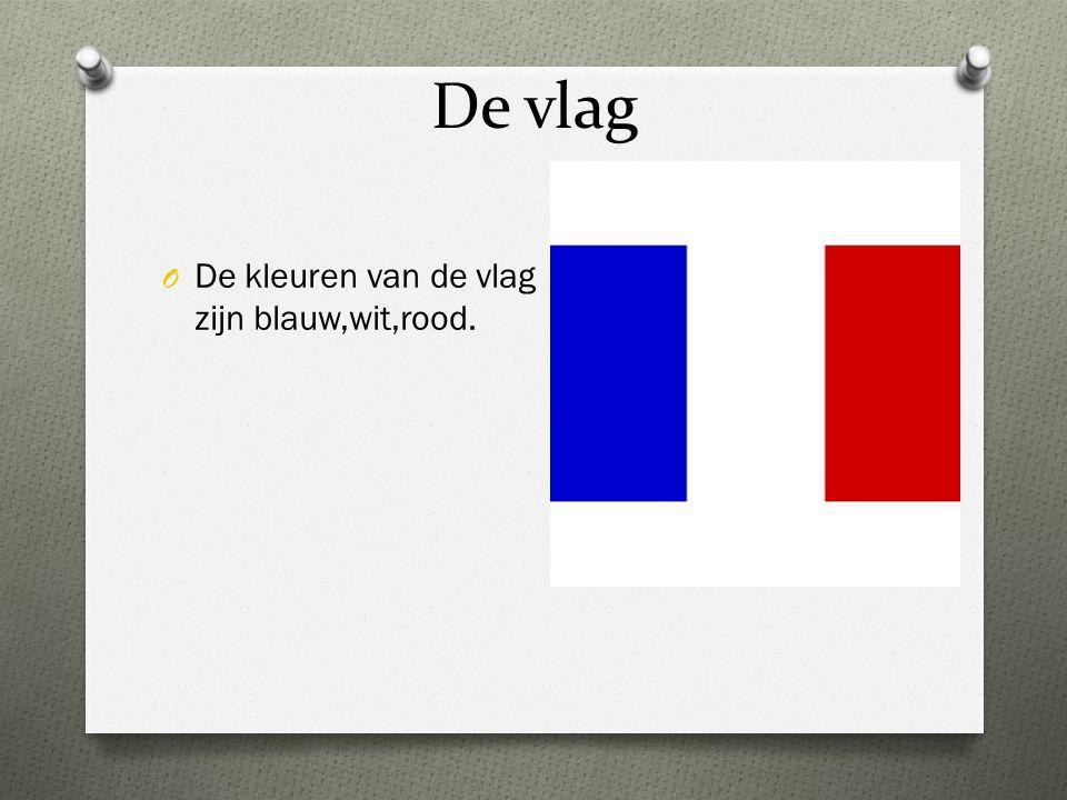 De vlag O De kleuren van de vlag zijn blauw,wit,rood.