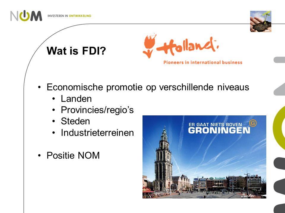 Wat is FDI? Economische promotie op verschillende niveaus Landen Provincies/regio's Steden Industrieterreinen Positie NOM