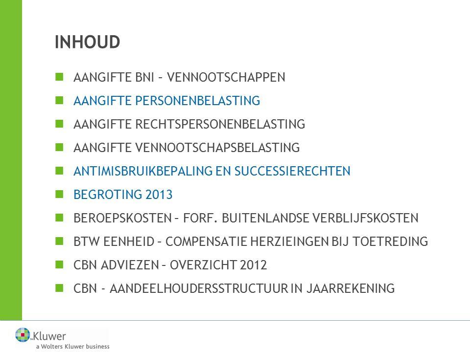 BEGROTING 2013 Verlaging RV —Dividenden uitgekeerd over aandelen op naam, uitgegeven vanaf 2013 ingevolge een inbreng in geld: 25% bij uitkering in de eerste 2 jaar na uitgifte 20% bij uitkering in het 3de jaar na uitgifte 15% bij uitkering vanaf het 4de jaar na uitgifte —Voorwaarde: aandelen ononderbroken in bezit —Verlaagd tarief blijft na 4 jaar behouden, ook als de vennootschap 'groot' zou worden, en ook bij liquidatie