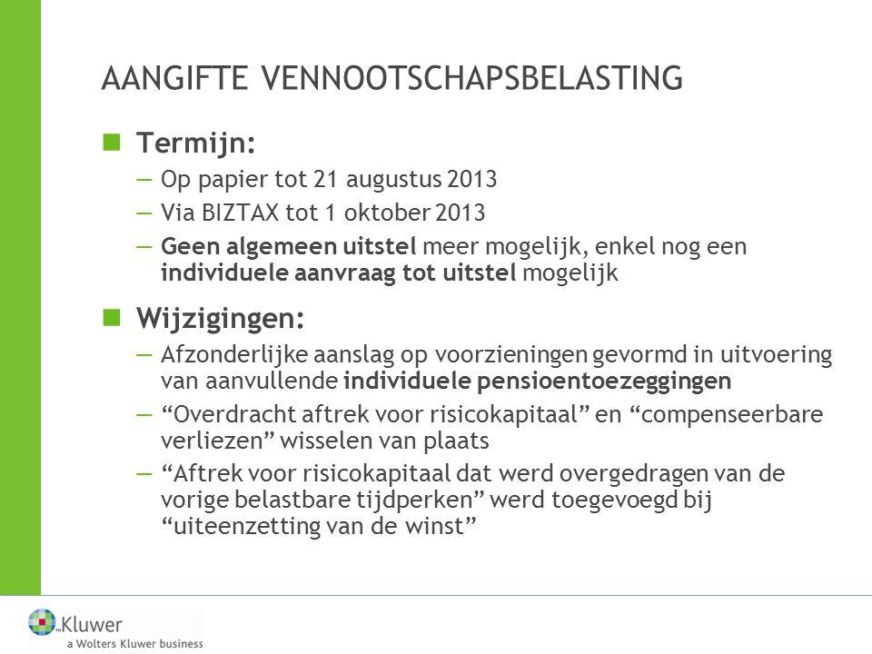 VENNOOTSCHAPSBIJDRAGE IN 2013 Bron: Artikel Gislenus Bats Wie is onderworpen.