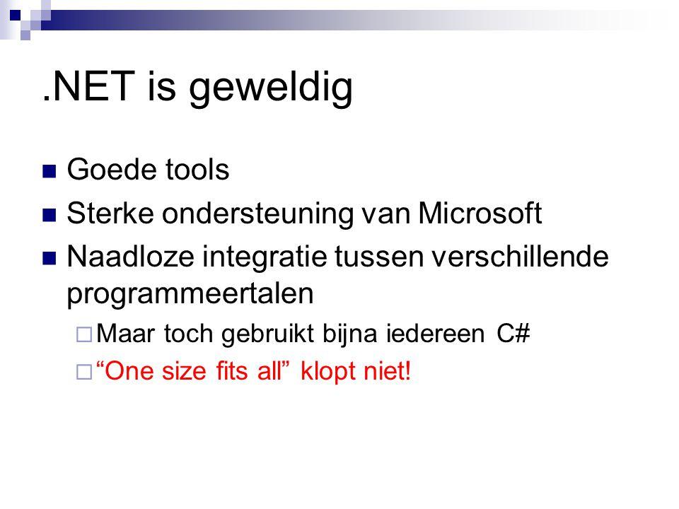 .NET is geweldig Goede tools Sterke ondersteuning van Microsoft Naadloze integratie tussen verschillende programmeertalen  Maar toch gebruikt bijna iedereen C#  One size fits all klopt niet!
