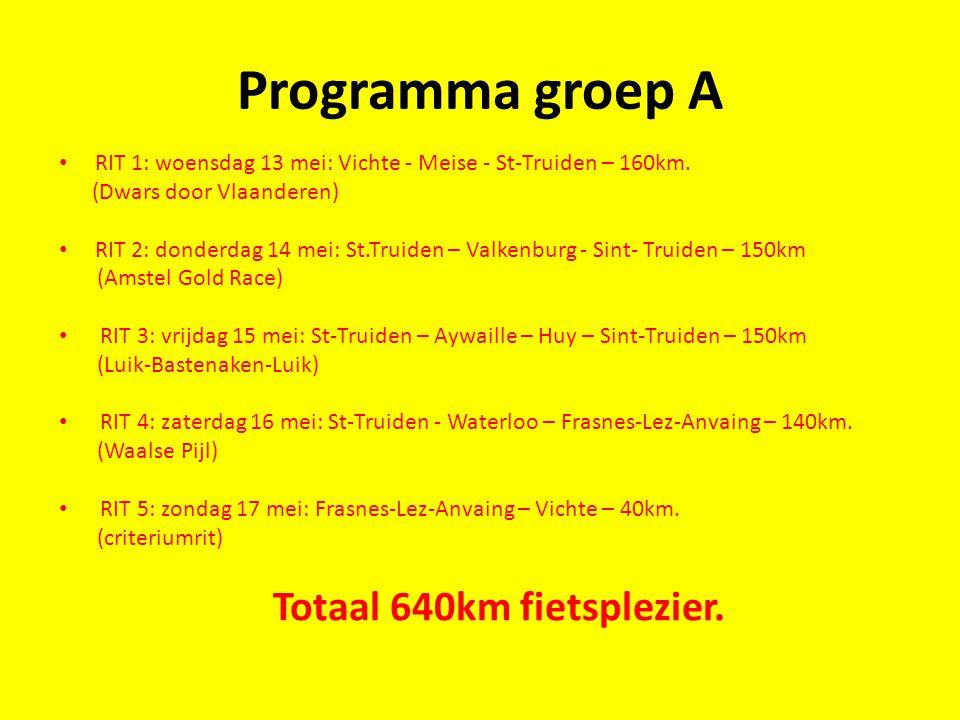 Programma groep A RIT 1: woensdag 13 mei: Vichte - Meise - St-Truiden – 160km. (Dwars door Vlaanderen) RIT 2: donderdag 14 mei: St.Truiden – Valkenbur
