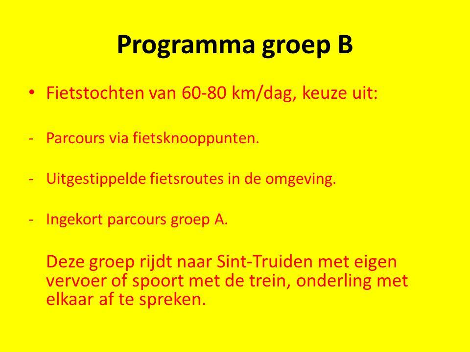 Programma groep B Fietstochten van 60-80 km/dag, keuze uit: -Parcours via fietsknooppunten. -Uitgestippelde fietsroutes in de omgeving. -Ingekort parc