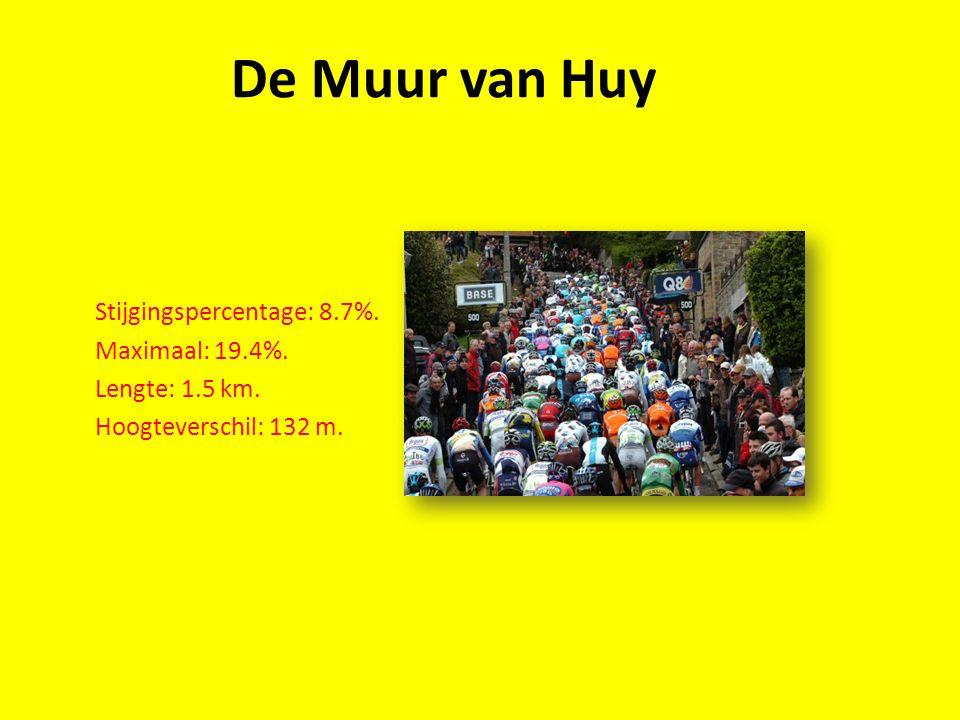 De Muur van Huy Stijgingspercentage: 8.7%. Maximaal: 19.4%. Lengte: 1.5 km. Hoogteverschil: 132 m.