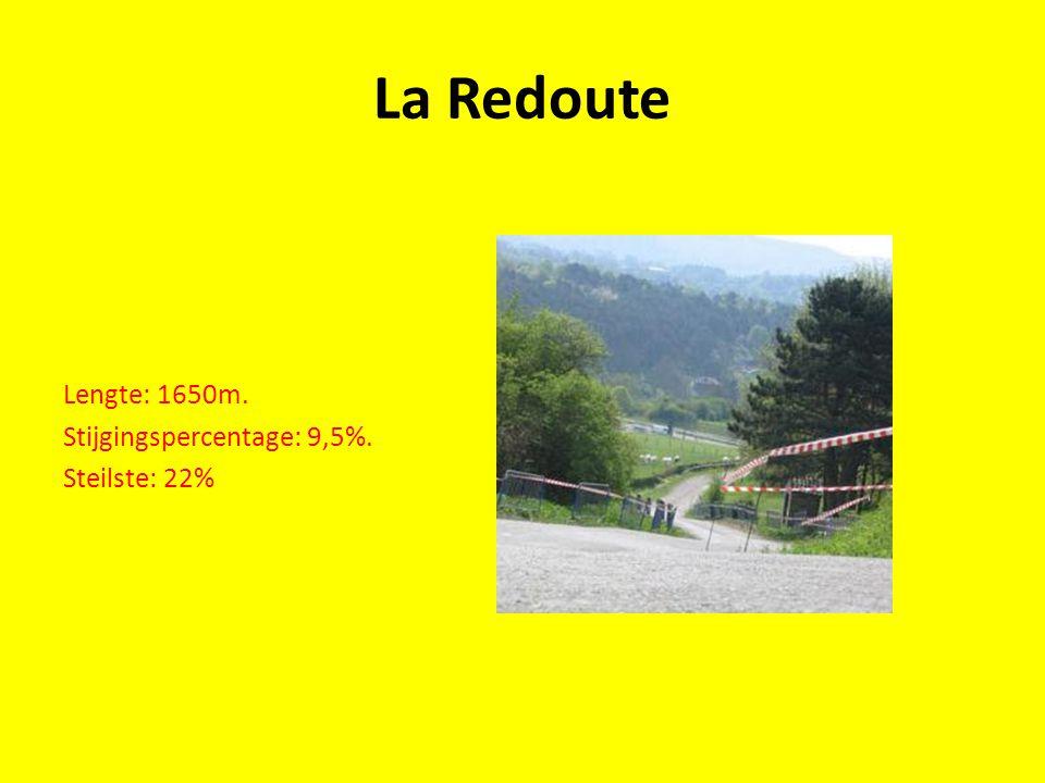 La Redoute Lengte: 1650m. Stijgingspercentage: 9,5%. Steilste: 22%