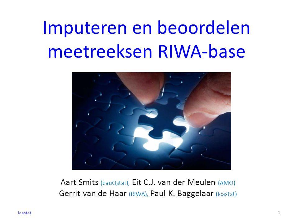 1 Aart Smits (eauQstat), Eit C.J. van der Meulen (AMO) Gerrit van de Haar (RIWA), Paul K. Baggelaar (Icastat) Imputeren en beoordelen meetreeksen RIWA
