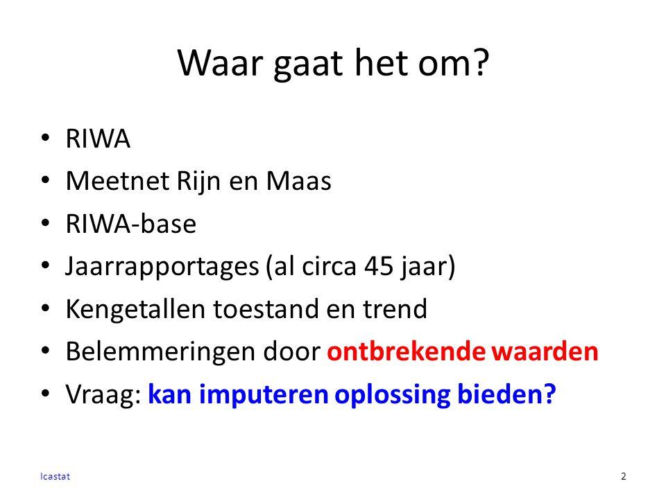 Waar gaat het om? RIWA Meetnet Rijn en Maas RIWA-base Jaarrapportages (al circa 45 jaar) Kengetallen toestand en trend Belemmeringen door ontbrekende