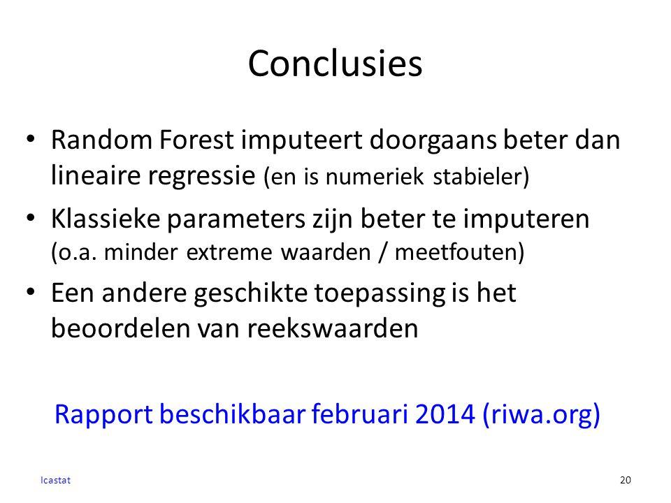 Conclusies Icastat20 Random Forest imputeert doorgaans beter dan lineaire regressie (en is numeriek stabieler) Klassieke parameters zijn beter te imputeren (o.a.