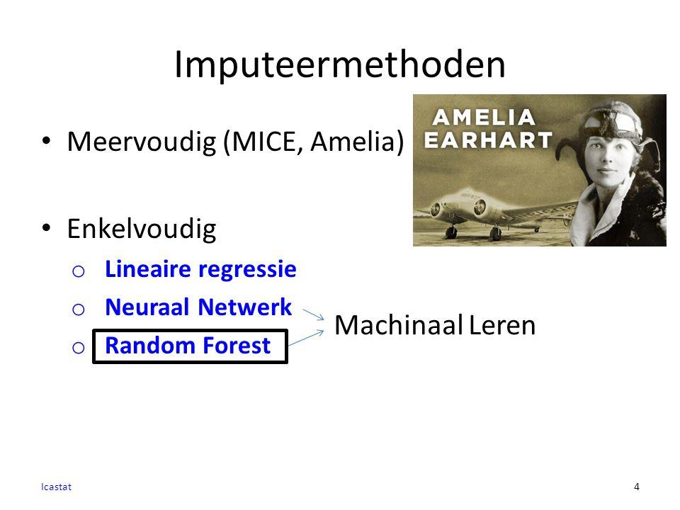 Imputeermethoden Meervoudig (MICE, Amelia) Enkelvoudig o Lineaire regressie o Neuraal Netwerk o Random Forest Icastat4 Machinaal Leren