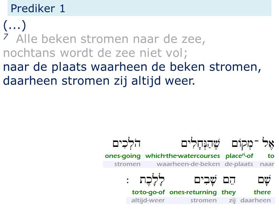 Prediker 1 (...) 7 Alle beken stromen naar de zee, nochtans wordt de zee niet vol; naar de plaats waarheen de beken stromen, daarheen stromen zij altijd weer.