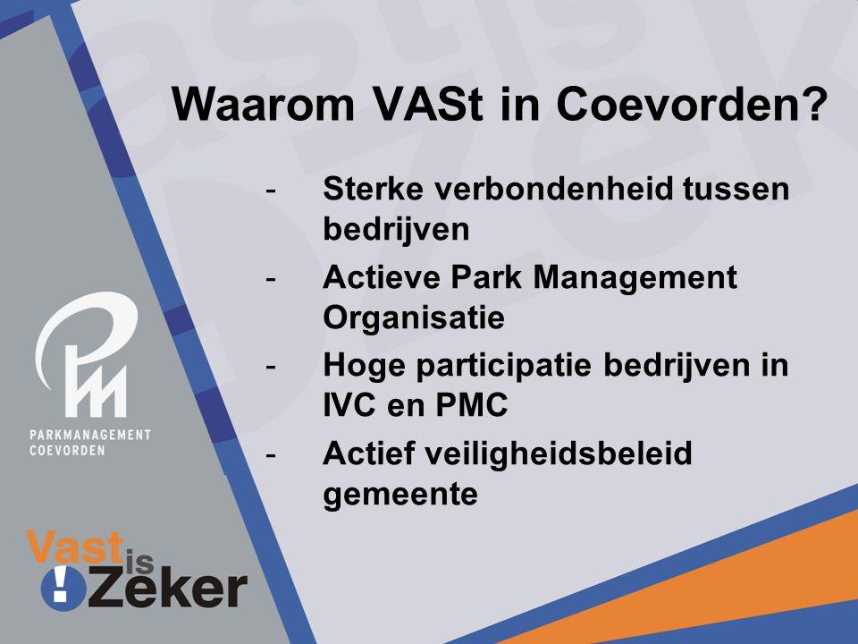 Waarom VASt in Coevorden? -Sterke verbondenheid tussen bedrijven -Actieve Park Management Organisatie -Hoge participatie bedrijven in IVC en PMC -Acti