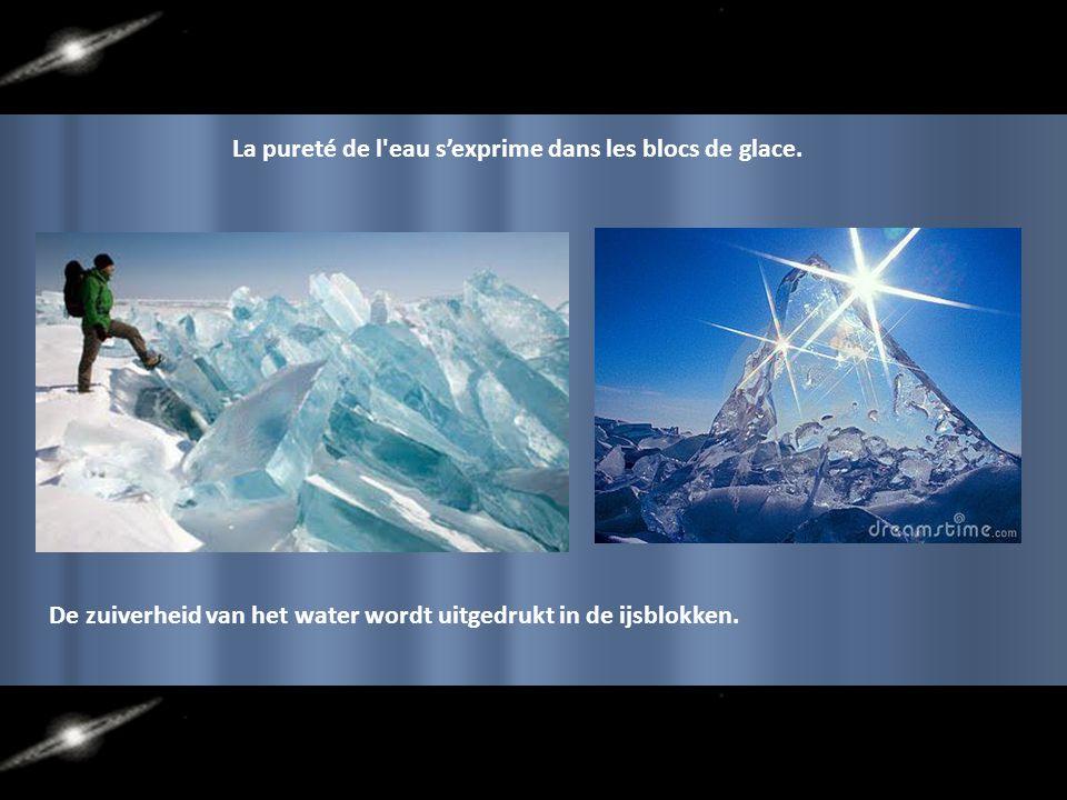 La pureté de l eau s'exprime dans les blocs de glace.