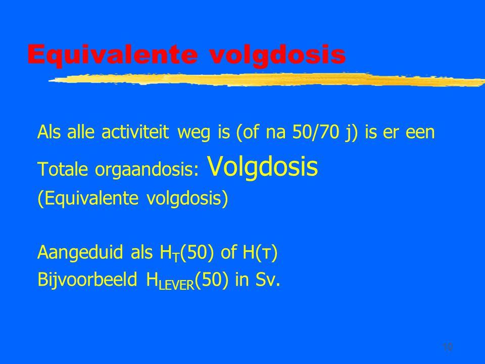 10 Equivalente volgdosis Als alle activiteit weg is (of na 50/70 j) is er een Totale orgaandosis: Volgdosis (Equivalente volgdosis) Aangeduid als H T (50) of H(τ) Bijvoorbeeld H LEVER (50) in Sv.