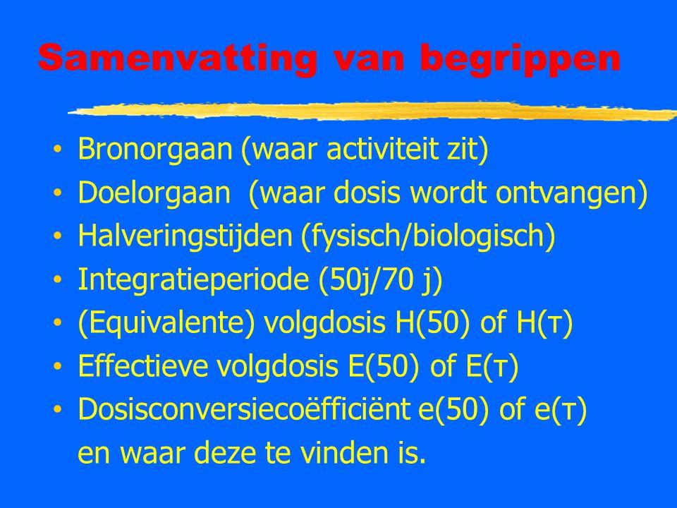 Samenvatting van begrippen Bronorgaan (waar activiteit zit) Doelorgaan (waar dosis wordt ontvangen) Halveringstijden (fysisch/biologisch) Integratieperiode (50j/70 j) (Equivalente) volgdosis H(50) of H(τ) Effectieve volgdosis E(50) of E(τ) Dosisconversiecoëfficiënt e(50) of e(τ) en waar deze te vinden is.