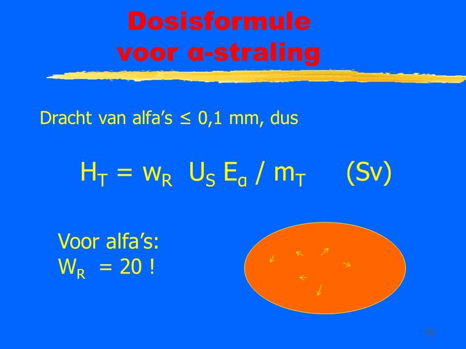 32 Dosisformule voor α-straling Dracht van alfa's ≤ 0,1 mm, dus H T = w R U S E α / m T (Sv) Voor alfa's: W R = 20 !
