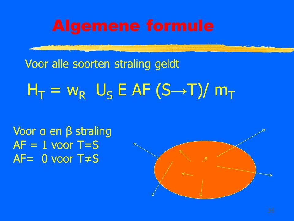 35 Algemene formule Voor alle soorten straling geldt H T = w R U S E AF (S → T)/ m T Voor α en β straling AF = 1 voor T=S AF= 0 voor T≠S