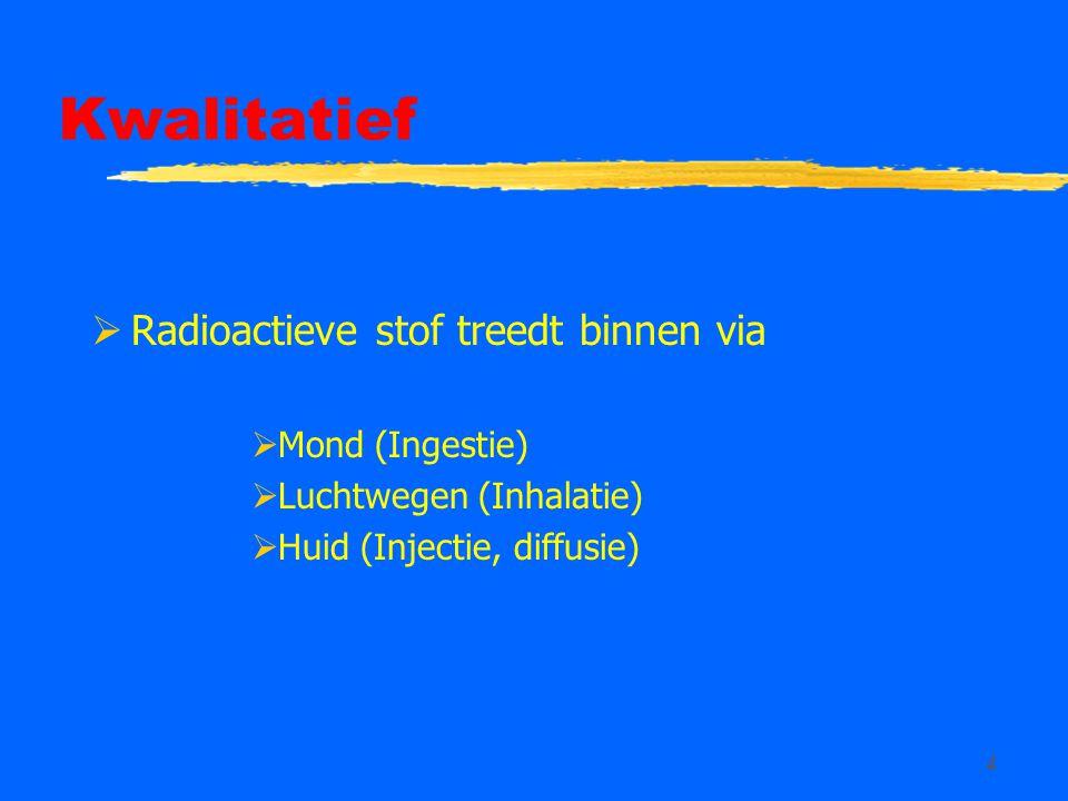 4 Kwalitatief  Radioactieve stof treedt binnen via  Mond (Ingestie)  Luchtwegen (Inhalatie)  Huid (Injectie, diffusie)