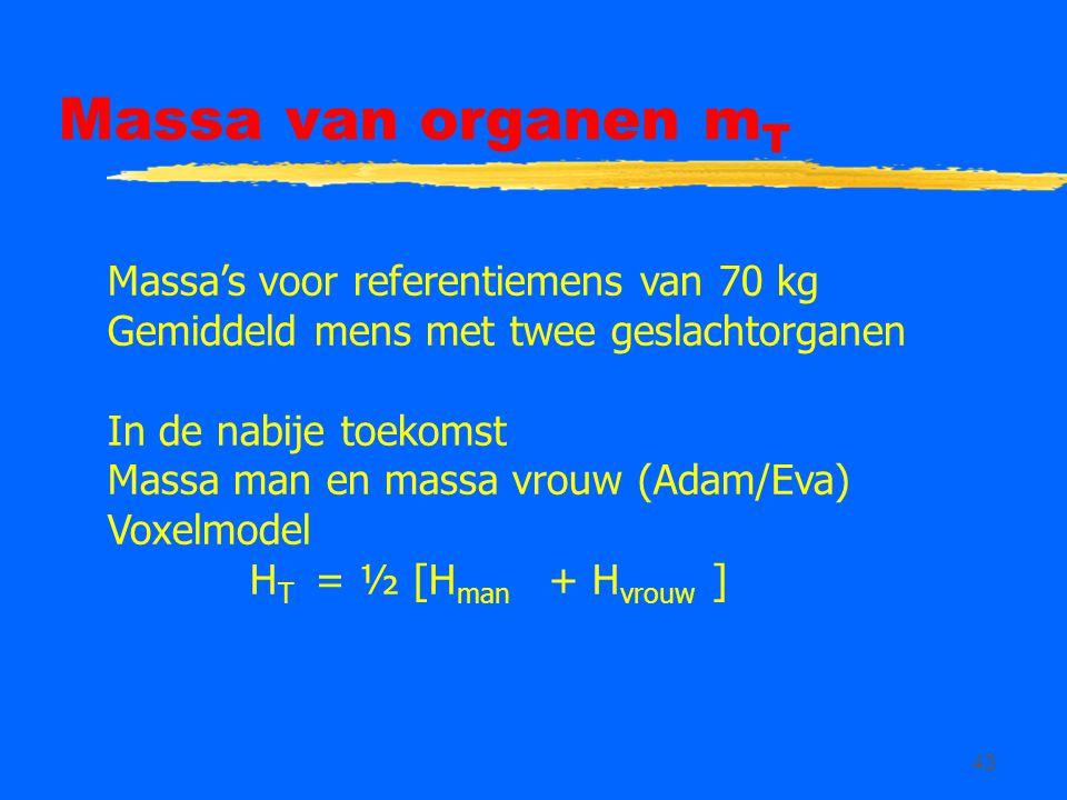 43 Massa van organen m T Massa's voor referentiemens van 70 kg Gemiddeld mens met twee geslachtorganen In de nabije toekomst Massa man en massa vrouw (Adam/Eva) Voxelmodel H T = ½ [H man + H vrouw ]