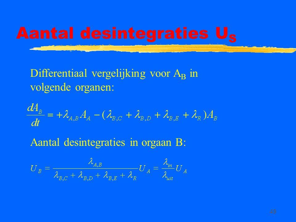 49 Aantal desintegraties U S Differentiaal vergelijking voor A B in volgende organen: Aantal desintegraties in orgaan B:
