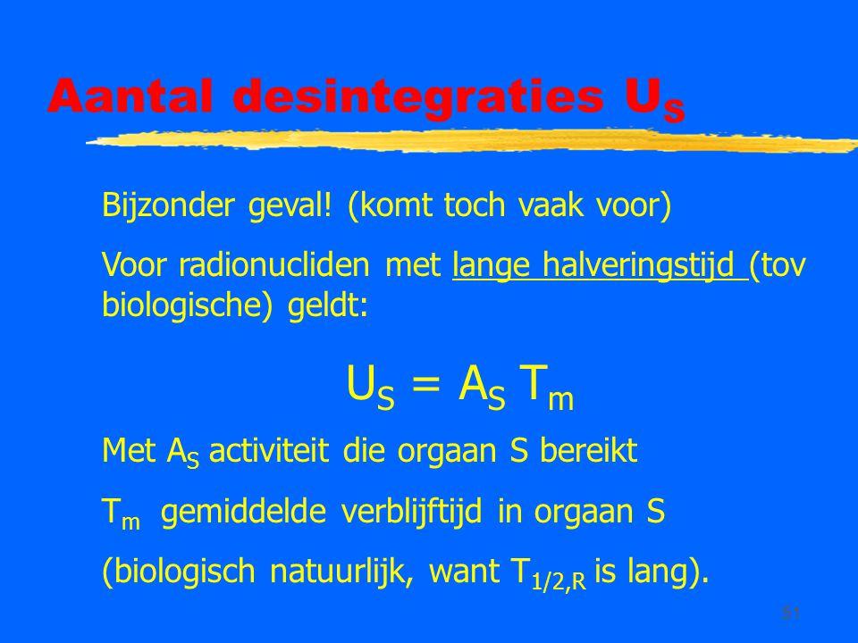 51 Aantal desintegraties U S Bijzonder geval! (komt toch vaak voor) Voor radionucliden met lange halveringstijd (tov biologische) geldt: U S = A S T m