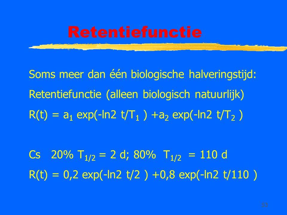 53 Retentiefunctie Soms meer dan één biologische halveringstijd: Retentiefunctie (alleen biologisch natuurlijk) R(t) = a 1 exp(-ln2 t/T 1 ) +a 2 exp(-ln2 t/T 2 ) Cs 20% T 1/2 = 2 d; 80% T 1/2 = 110 d R(t) = 0,2 exp(-ln2 t/2 ) +0,8 exp(-ln2 t/110 )